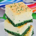 Green Velvet Cheesecake Bars are festive and delicious. A perfect St. Patrick's Day treat!