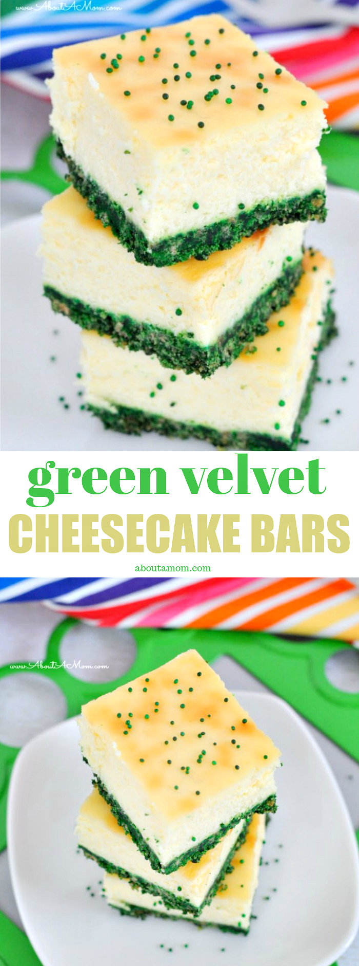 Green Velvet Cheesecake bars are festive and delicious. A perfect St. Patrick's Day dessert!