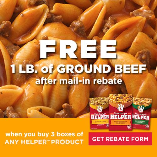 Hamburger Helper Free Ground Beef Rebate