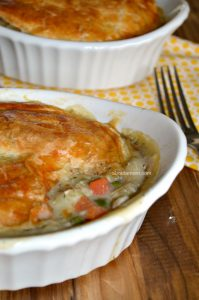 There's nothing more comforting than this chicken pot pie recipe for two. This simple yet delicious recipe can easily be doubled or tripled for more people.