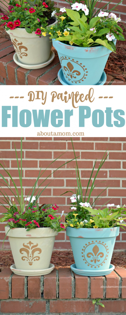 A simple painted flower pot project. Beautify your garden with this flower pot painting idea using stencils and chalk paint.