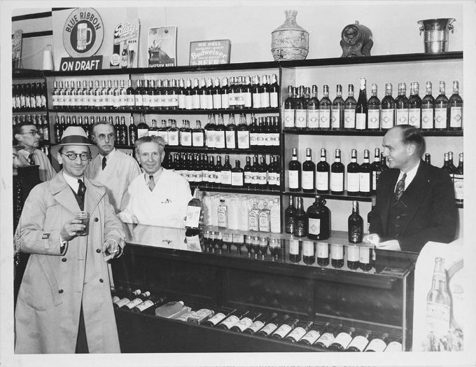 A well stocked LA store awaits repeal in December, 1933.