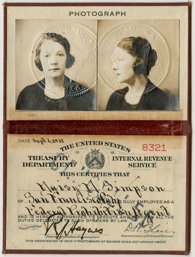 ID for Prohibition Agent, Daisy Simpson
