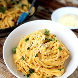 This rich, creamy pumpkin pasta recipe turns pumpkin puree into delicious sauce with just a hint of cloves and nutmeg. The simple to prepare dish is fall comfort food at it's best.