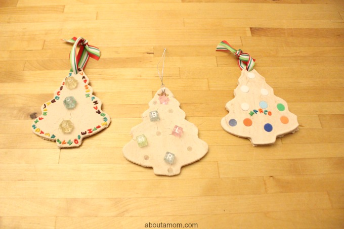 Christmas Tree Clay Ornaments. ribbon