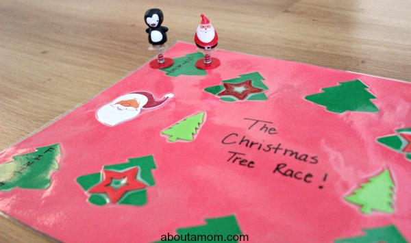 Christmas Tree Race. start and finish