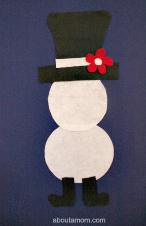 Felt Snowman hat and boots