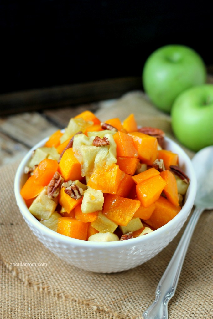 The flavors of the season come together beautifully in this recipe for Maple Roasted Butternut Squash and Apples. It's wonderful as a side dish or as a delicious meatless entree. A healthy, easy, vegetarian dish for fall.