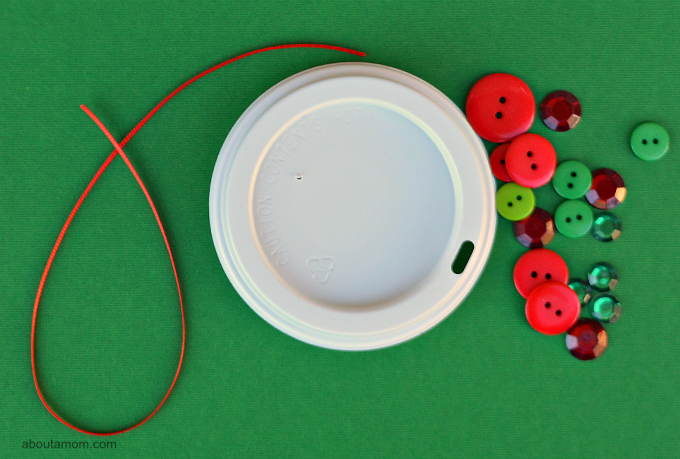 Upcycle your coffee cup lid into a festive Christmas ornament