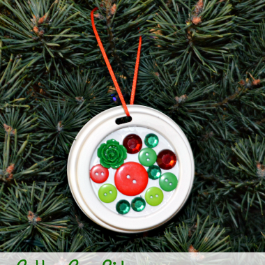Upcycle your coffee cup lids into a festive Christmas ornament.