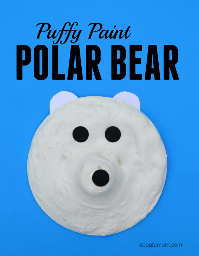 Easy and fun puffy paint polar bear craft for kids.