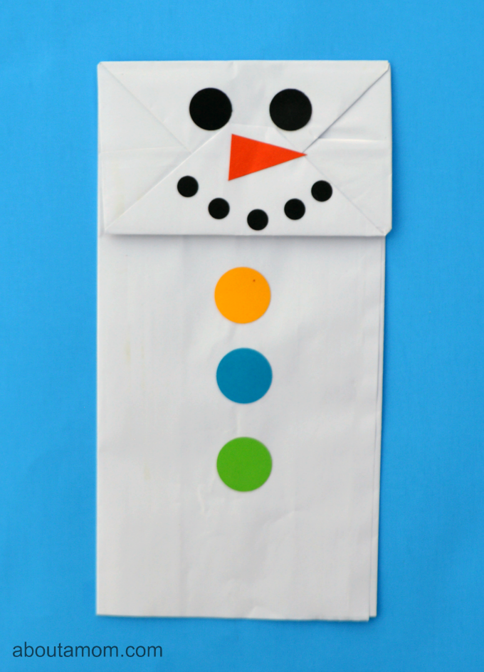 Paper bag snowman puppet craft for kids