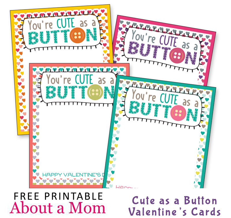 You're Cute as a Button Printable Valentines feature old-fashioned candy buttons and are sure to bring a smile to the faces of classmates.