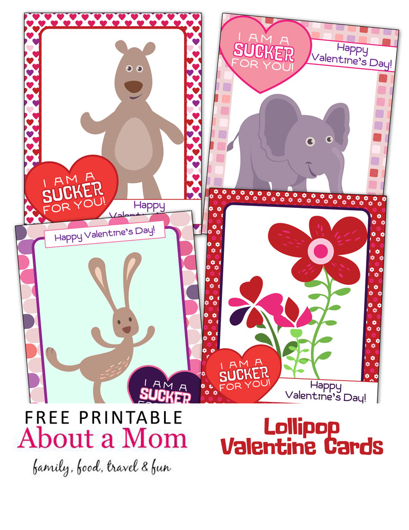 graphic regarding Printable Valentines for Kids called Im a Sucker for Yourself Printable Valentines for Small children - Over A Mother
