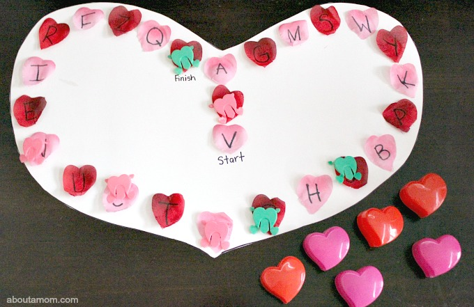 DIY Valentine ABC Game. heart box option
