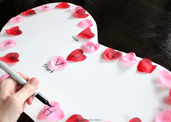 DIY Valentine ABC Game. sharpie