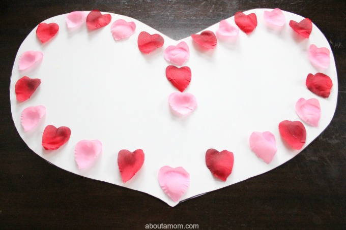 DIY Valentine ABC Game. silk petals