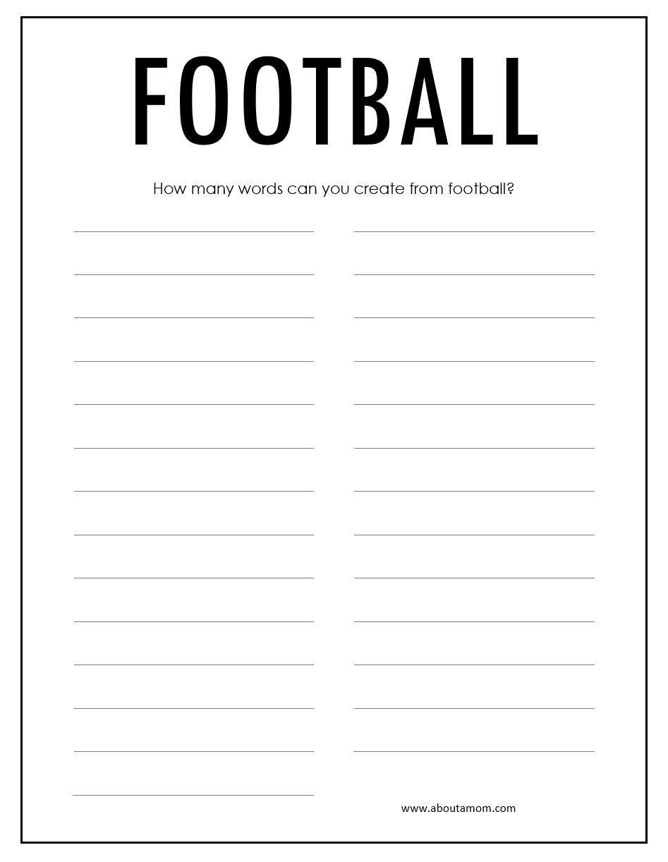 Free printable football word puzzle great super bowl for kids and adults.