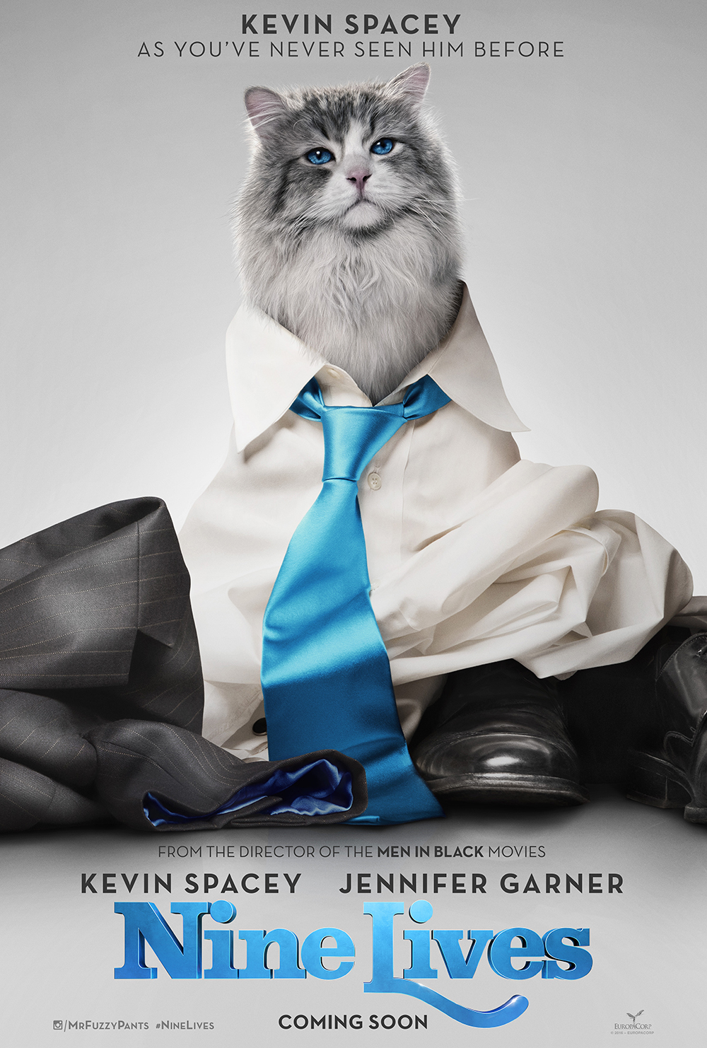 Watch the official trailer for Nine Lives the movie in theaters August 5, 2016. The hilarious family movie features the voices of Kevin Spacey and Jennifer Garner.