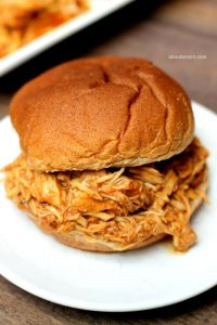 Slow Cooker Beer BBQ Chicken Sandwiches