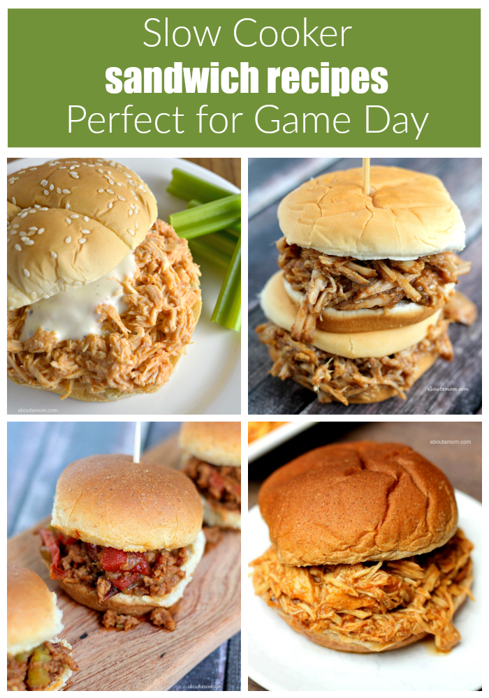Celebrate National Slow Cooker Month with this Slow Cooker Buffalo Chicken recipe and 3 more slow cooker sandwich recipes that are perfect for game day.