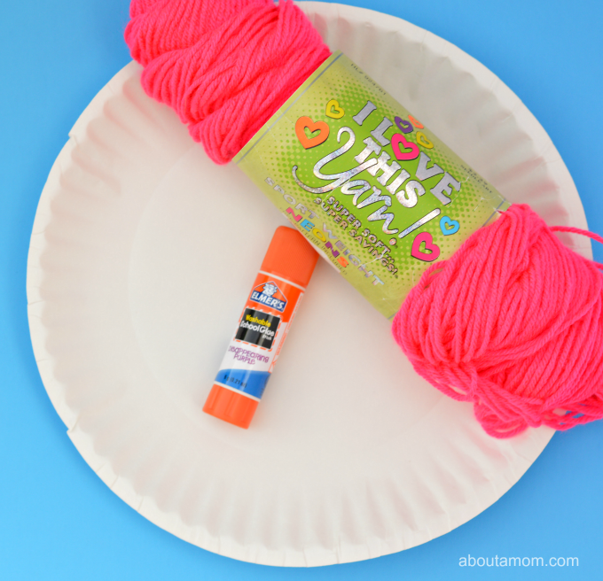 Valentine Heart Craft for kids using yarn and paper plates