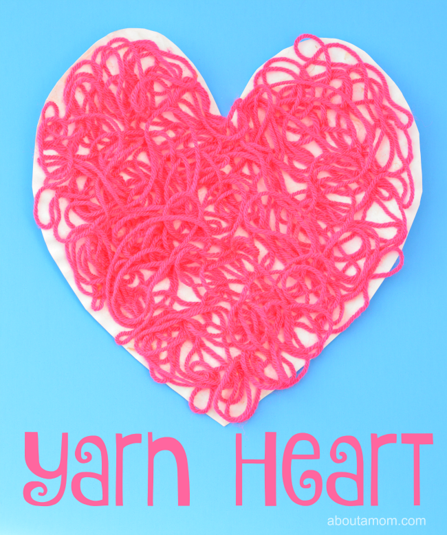 Valentine Heart Craft for kids using yarn and a paper plate.