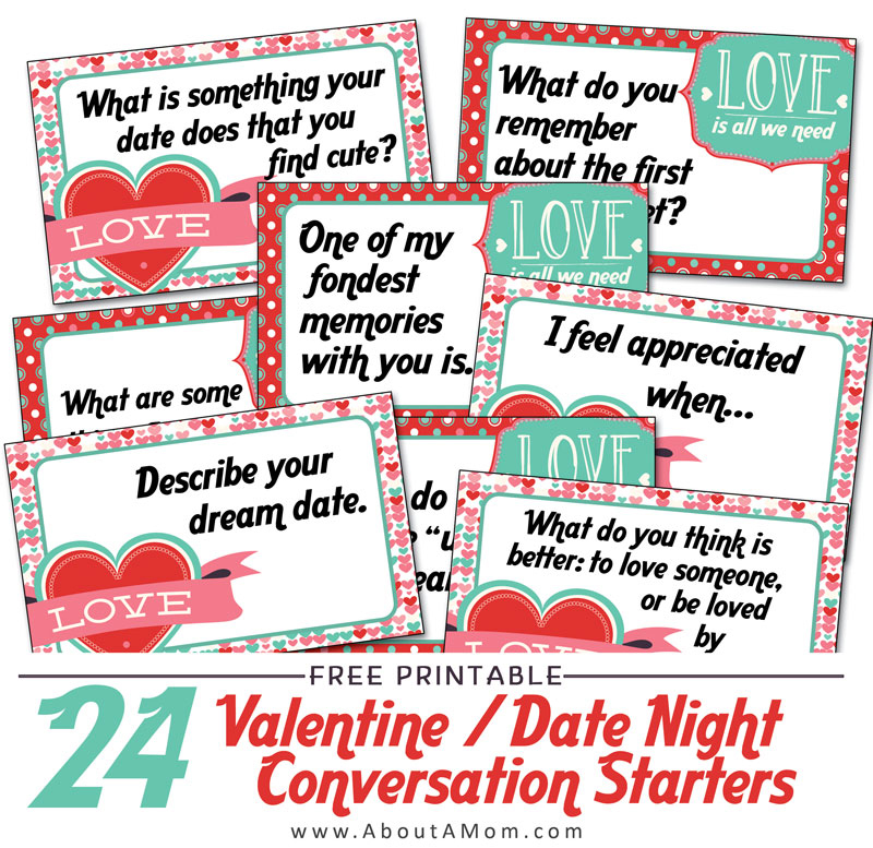 Valentine's Day Date Night Conversation Starters Printables