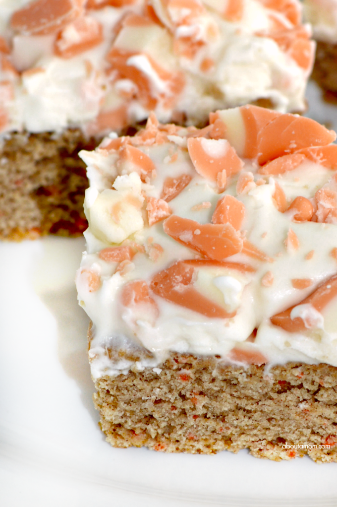 These incredibly simple-to-make Carrot Cake Mix Cookie Bars are made with a cake mix, then topped with a delicious cream cheese frosting.