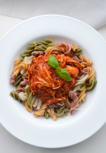 Easy Pulled Chicken in Red Sauce