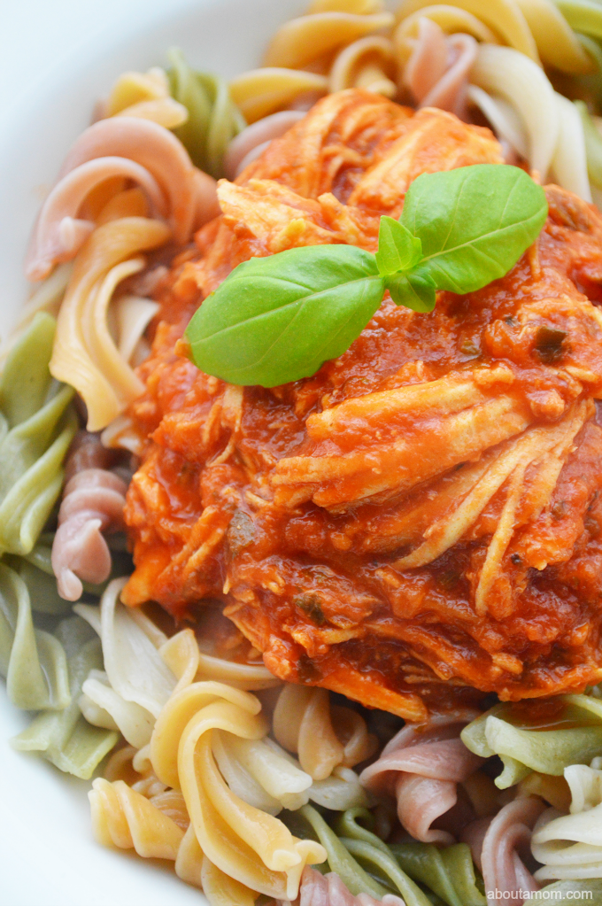 This flavorful and easy-to-make pulled chicken in red sauce is perfect for a busy week night. Serve it with your favorite pasta for a complete meal.