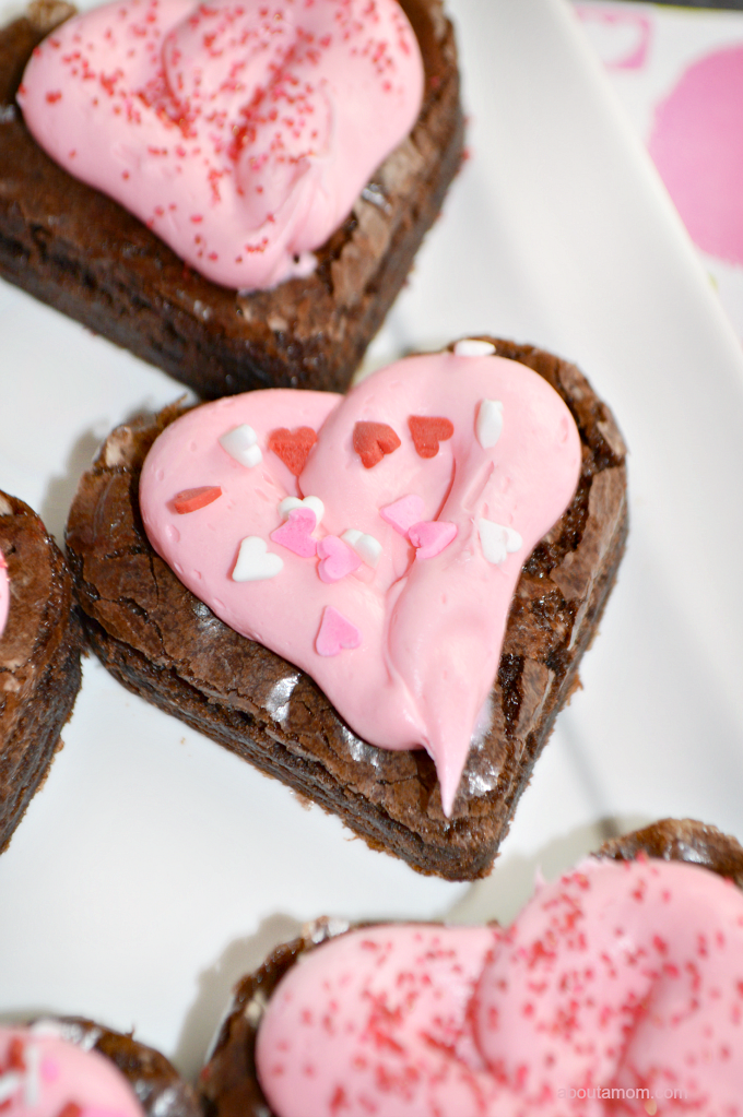 Strawberry Frosted Heart Shaped Brownies, a Perfect Last-Minute Valentine's Day Dessert