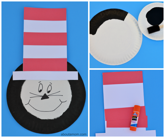 Dr. Seuss The Cat in the Hat paper plate kid craft
