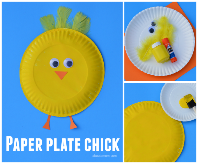 Easy paper plate chick craft for Easter or farm unit.