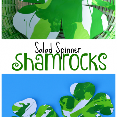 Salad Spinner Shamrocks St. Patrick's Day Craft for Kids