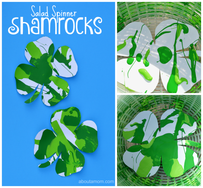 Fun St. Patrick's Day shamrock process art project for kids.