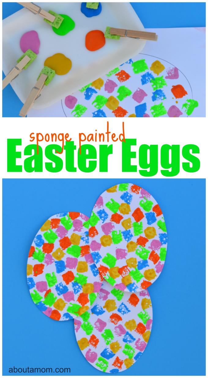 Sponge painted Easter egg craft for kids.