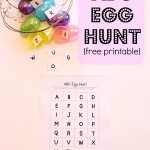Easter fun for the kids. Use our free printable and plastic dollar store eggs for a fun, ABC egg hunt game that can played indoors or outdoors.