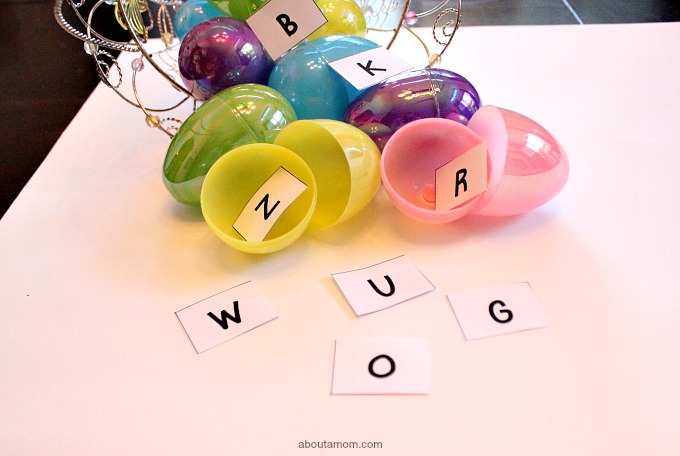 ABC Egg Hunt, letters in eggs