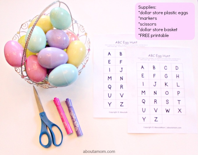 ABC Egg Hunt, supplies
