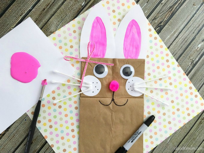 Easter bunny bag- bunny craft- painting the ears