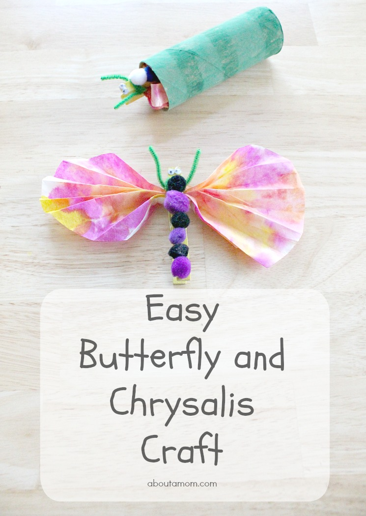 Teach children about the life cycle of a butterfly with this fun and easy butterfly and chrysalis craft for kids.