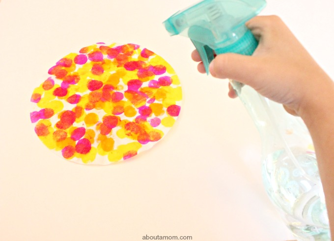 Easy Butterfly and Chrysalis Craft, spray coffee filter with water