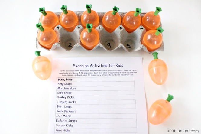 Exercise Activities for Kids, numbered egg carton