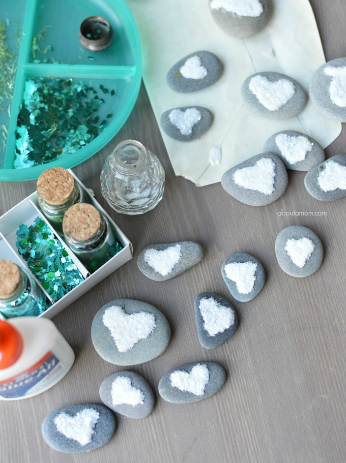 Glittery Heart Rock Craft - Finished heart collection