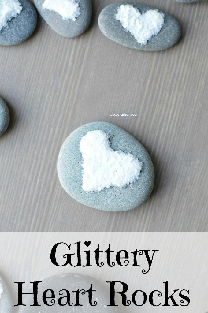 Glittery Heart Rock Craft - glitter heart