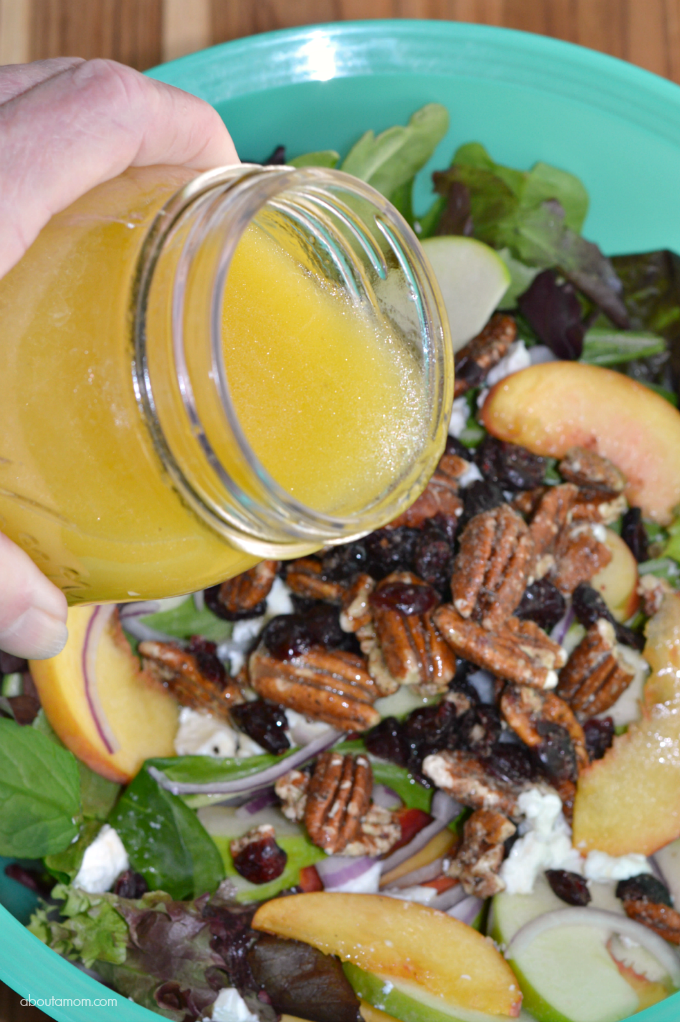 Peach, Pecan and Goat Cheese Salad with Citrus Vinaigrette