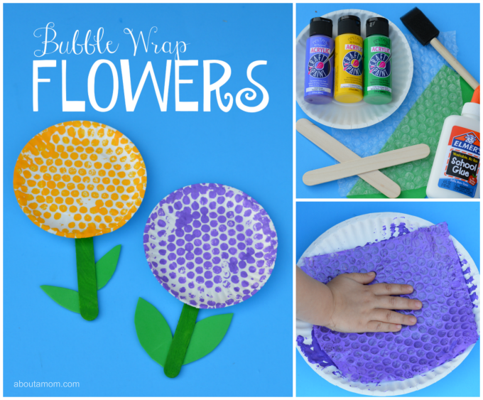 Fun springtime flower craft for kid using bubble wrap.