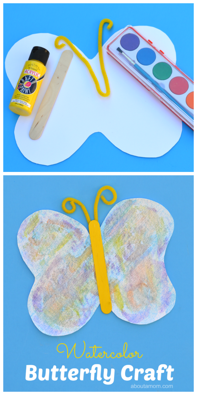 Watercolor butterfly craft for kids