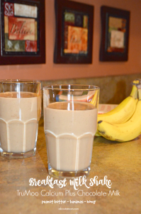 A Chocolate Peanut Butter Banana Breakfast Shake made with TruMoo Calcium Plus chocolate milk is a sure way to make sure they start the day right.